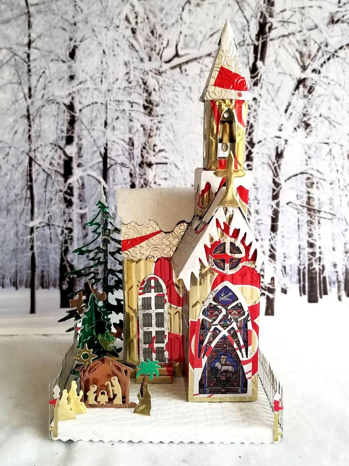 Winter Village Church #4 aluminum can house