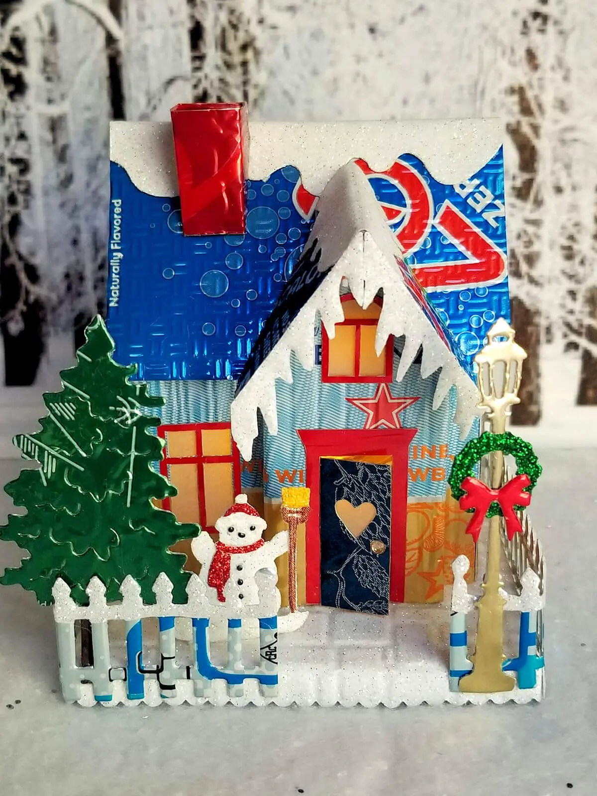 Winter Country Cottage aluminum can house