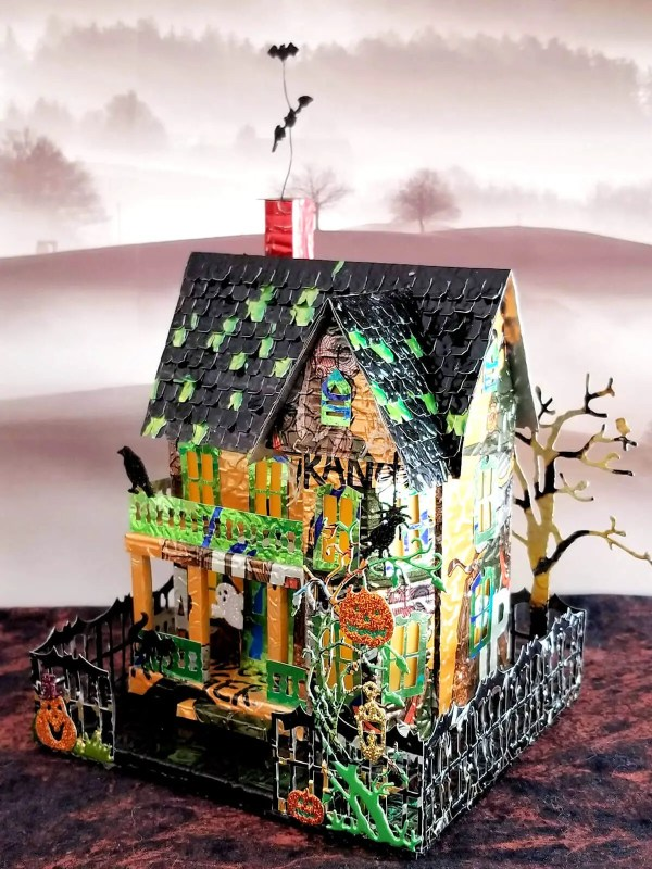 Spooky Halloween House aluminum can house image 2 of 9