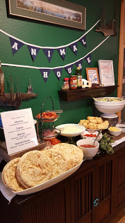 Animal House College Themed First Birthday Party. How to plan one and why we did. Penny Party, College Money, Planning for College. First Birthday Party Ideas. Make your own Pizza Bar, Toga Party