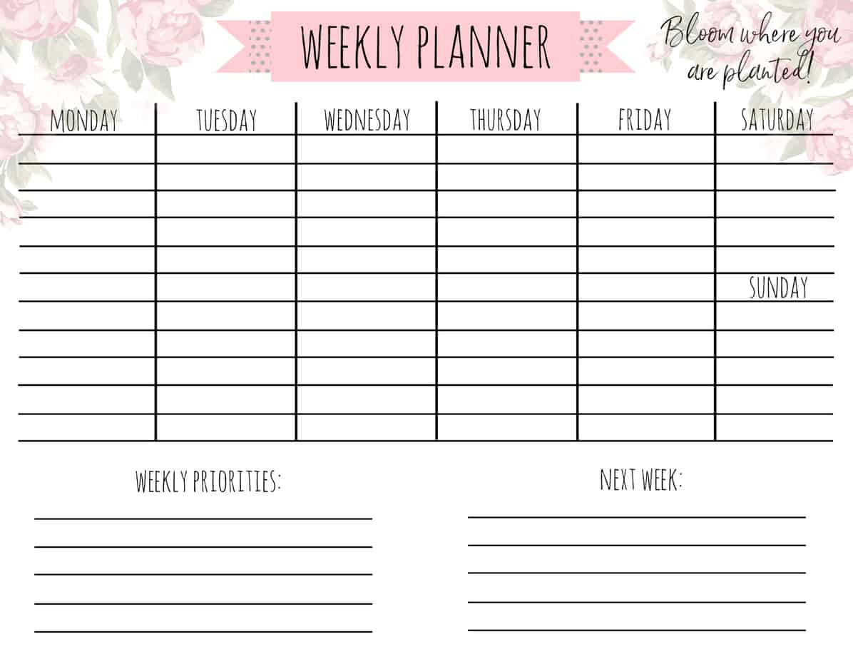 photograph relating to Cute Weekly Planner Printable named Cost-free Printable Weekly Calendar for Each and every Layout! - A Place