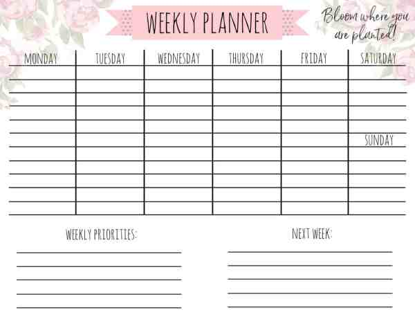|1| Farmhouse Country Life Printable Weekly Planner|