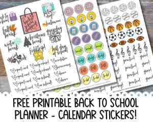 FREE Printable Back to School Planner Stickers for Teachers & Students