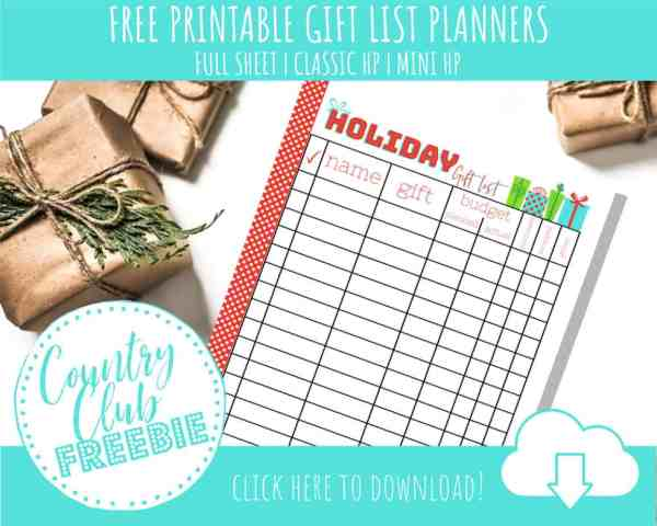 FREE Printable Holiday Gift List Planner & List Organizer for Budget Gifting