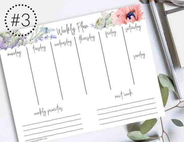 free printable floral weekly planners