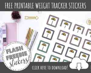 FREE Printable Weight Planner Stickers for Bullet Journals or Planners