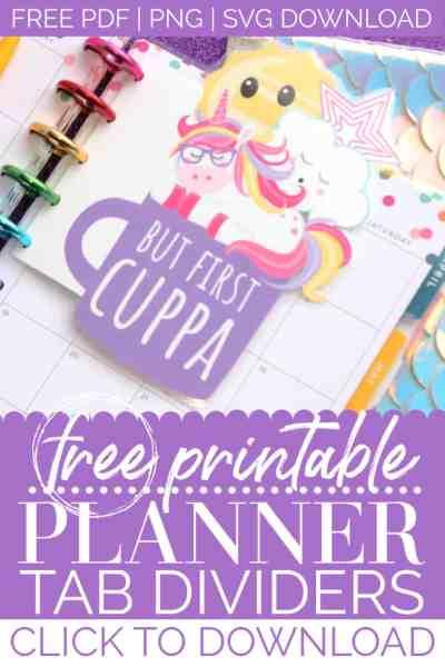 free printable planner tab dividers