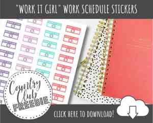 FREE Printable Work Schedule Planner Stickers for The Uber Organized Girl Boss!
