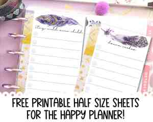 Free Printable Half Size Sheets for Happy Planner {CUTE INSERTS!}