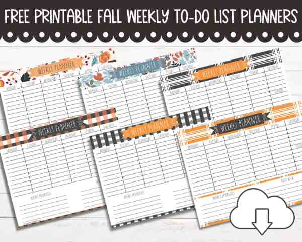 FREE Weekly Planner for Fall, Halloween or Thanksgiving {7 Styles to Choose From!}