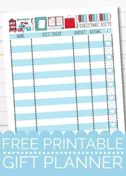 free printable christmas gift planner insert for gift planning and budgeting