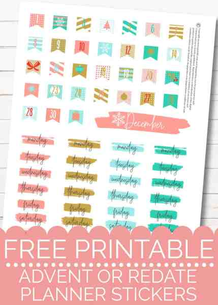 free printable christmas planner stickers for advent or redate