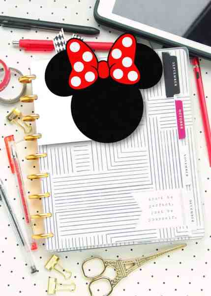 free printable disney planner tab die cut with a minnie mouse theme