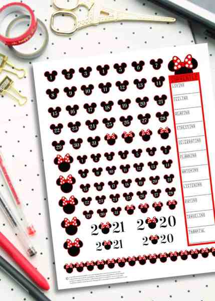 free printable disney planner stickers with a minnie mouse theme turn any planner into a disney planner