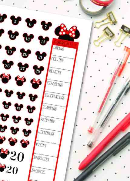 free printable disney planner stickers with a minnie mouse theme