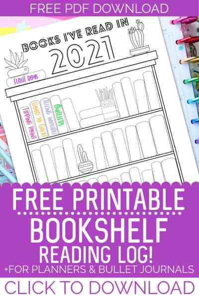 free printable bookshelf reading log