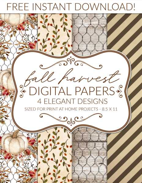 free printable fall digital paper pack for autumn thanksgiving scrapbook
