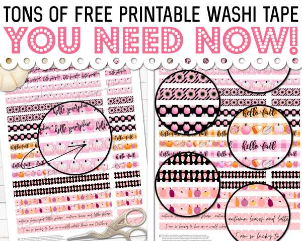 Hundred's of FREE Printable Washi Tape You'll Want to DOWNLOAD NOW!