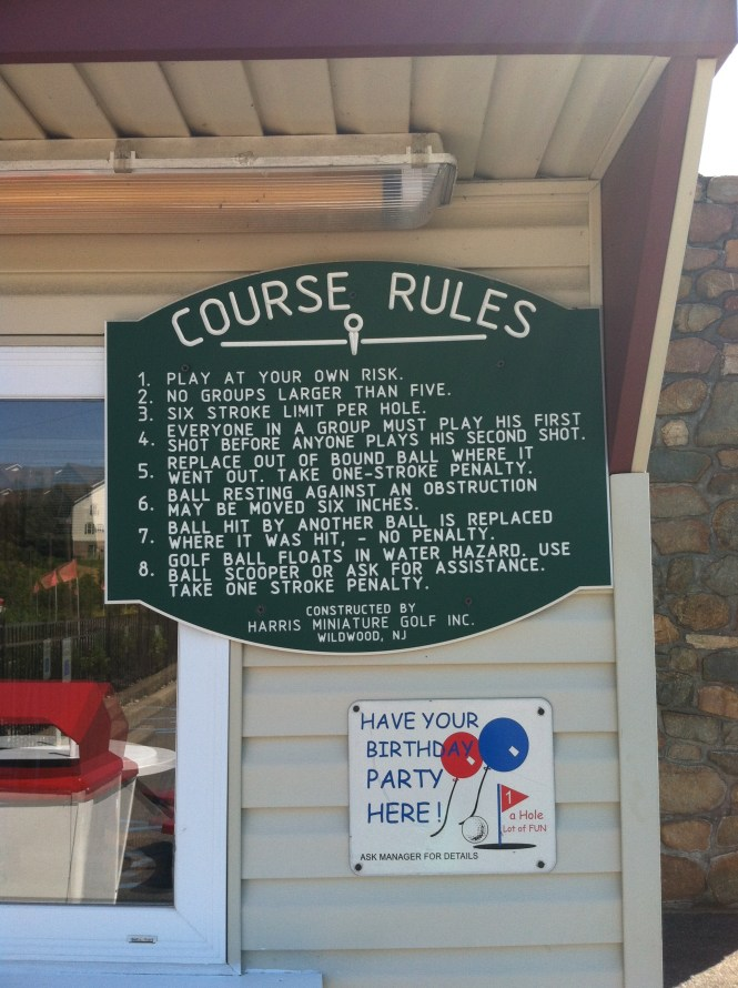 Classic Harris sign for course rules