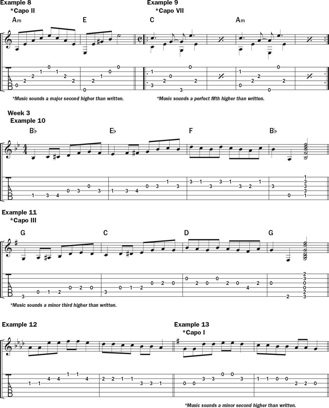 musical notation and tablature for Jamie Stillway's weekly workout acoustic guitar lesson on how to use a capo, page two