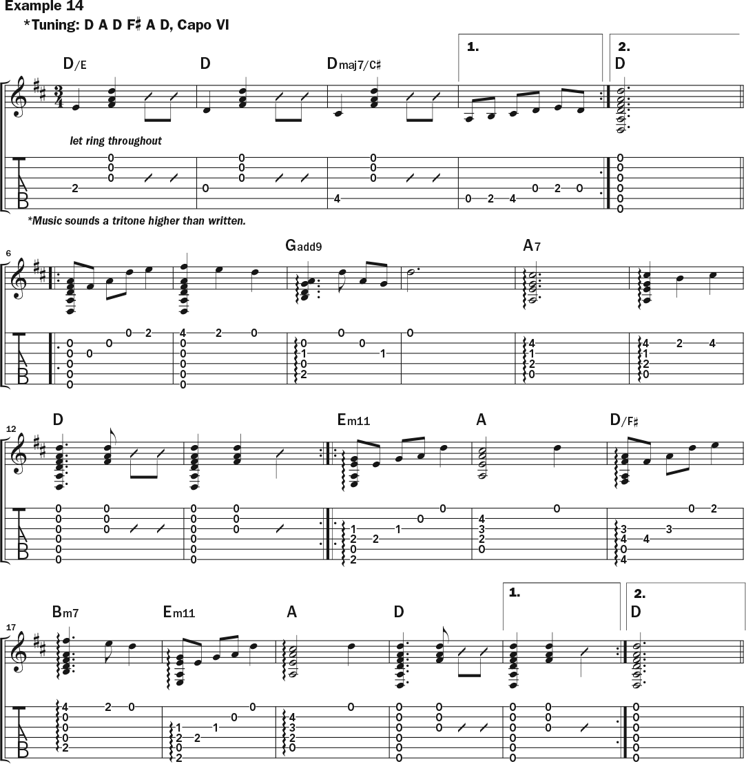 musical notation and tablature for Jamie Stillway's weekly workout acoustic guitar lesson on how to use a capo, page 3
