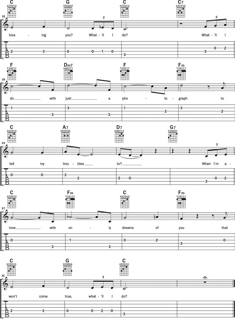 """Irving Berlin """"What'll I Do"""" guitar notation and tab 2"""