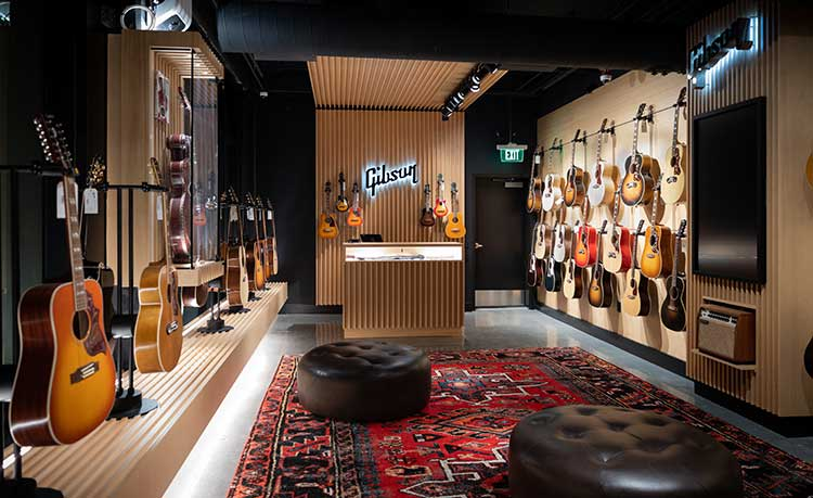The acoustic showroom at the Gibson Garage in Nashville