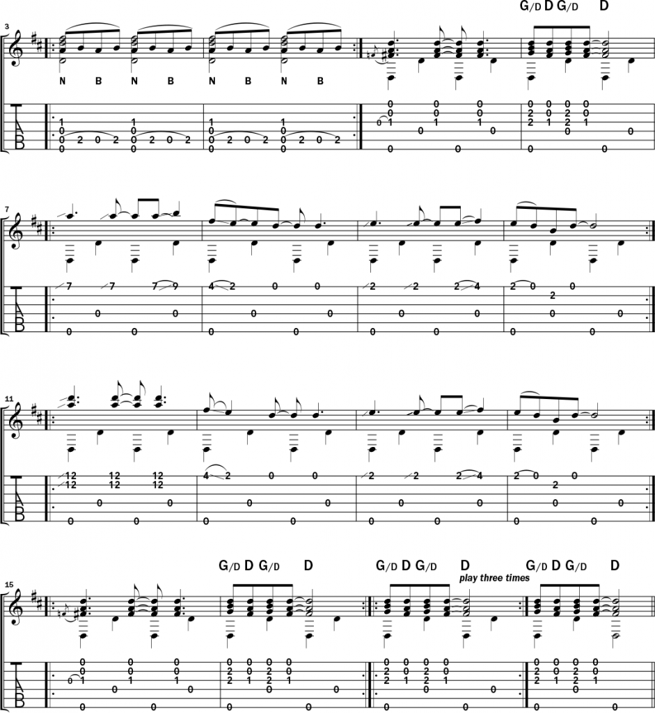 Musical example 11 in standard notation and TAB to accompany the text of this Bukka White lesson.