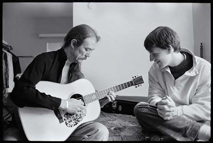 Tony Rice and Chris Eldridge at Merlefest in 2001