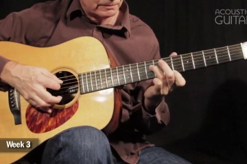 close up of guitarists hand on his acoustic guitar fingerboard demonstrating this octave scale exercise