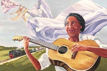 Illustration of Elizabeth Cotten playing acoustic guitar with a freight train rolling by in the background.