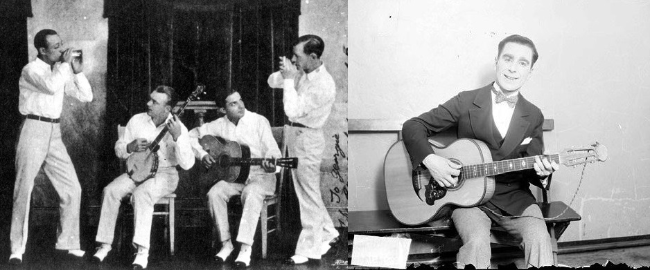 Eddie Lang, third from left, and a 1925 shot of Nick Lucas.