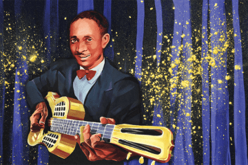 Illustration of Tampa Red with a golden resonator guitar