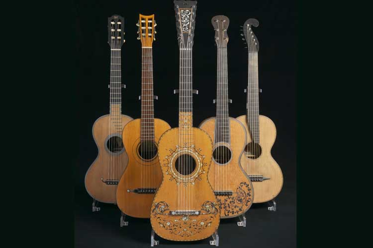 Baroque to Romantic era guitars (left to right): ca. 1830 Lacôte , ca. 1830 Panormo, 1813 Pagés , 1882 Fabricatore, Staufer (date unknown) -- St. Cecilia's Hall Collection, University of Edinburgh