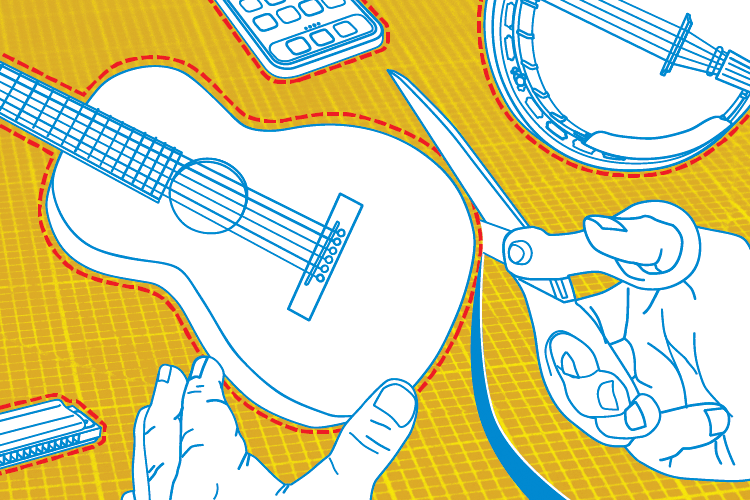 illustration of acoustic guitar being cut out with scissors like fabric