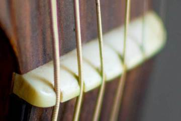 closeup of an acoustic guitar's nut and