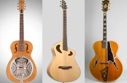 a collage showing three guitars: a resonator, a baritone, and an archtop