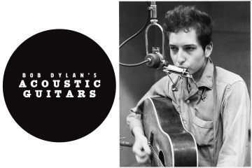 bob dylan playing harmonica and guitar next to a microphone