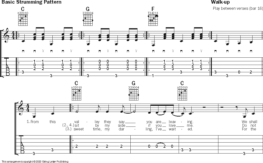 guitar notation for 'Red River Valley'