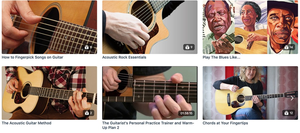 Acoustic Guitar Plus catalog, featuring popular video courses like How to Fingerpick Songs on Guitar, Acoustic Rock Essentials, The Guitarist's Personal Practice Trainer, and more.