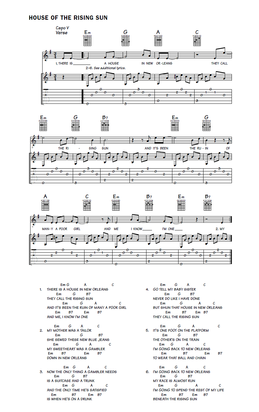 acoustic guitar fingerpicking sheet music notation for House of the Rising Sun