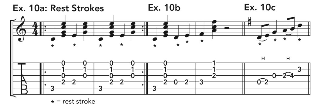 how to get good acoustic guitar tone, ex. 10 music notation