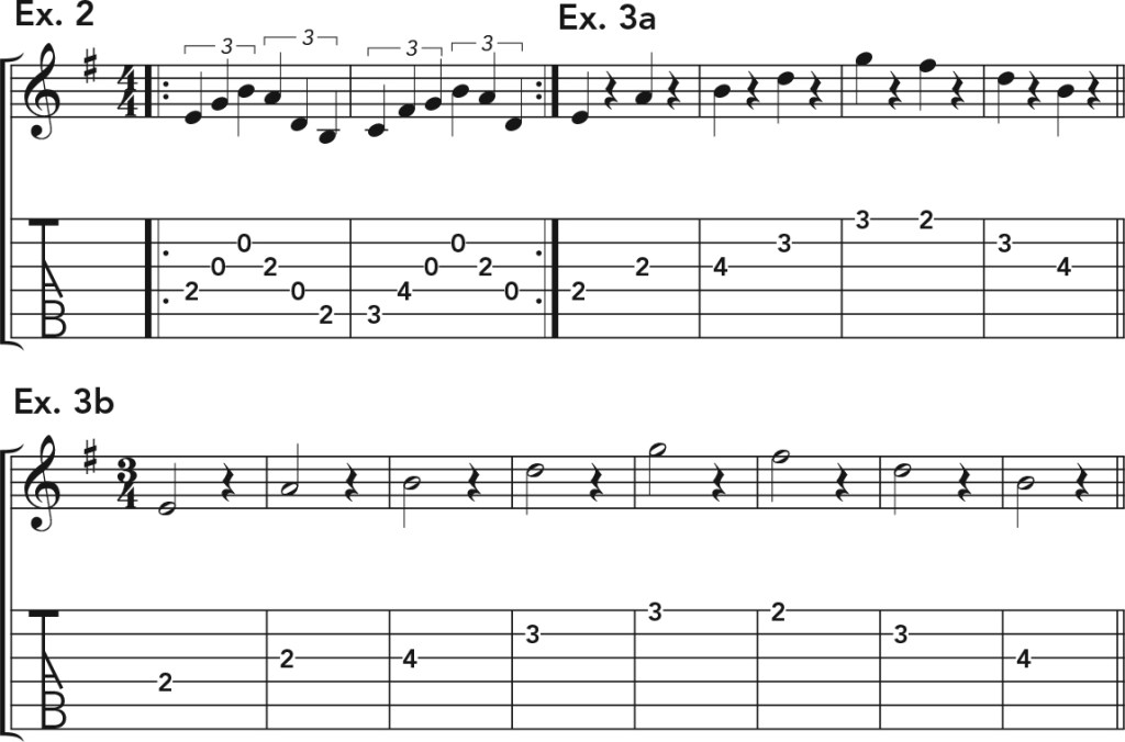 how to get good acoustic guitar tone, exs. 2–3 music notation