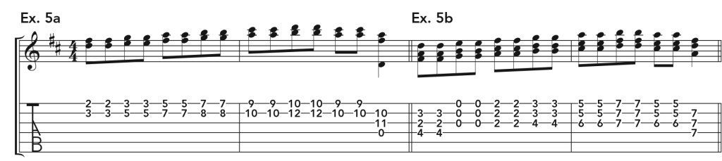 how to get good acoustic guitar tone, ex. 5 music notation