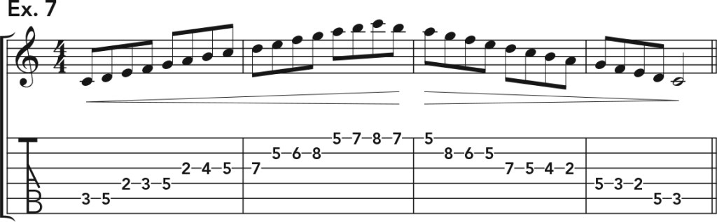 how to get good acoustic guitar tone, ex. 7 music notation