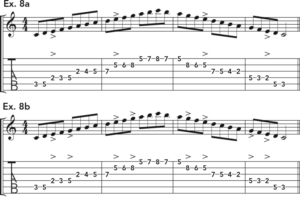 how to get good acoustic guitar tone, ex. 8 music notation
