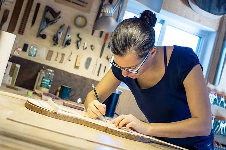 Classical Guitar Builder Joshia de Jonge in workshop