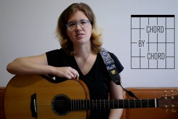 Kate Koenig with her guitar for Chord by Chord