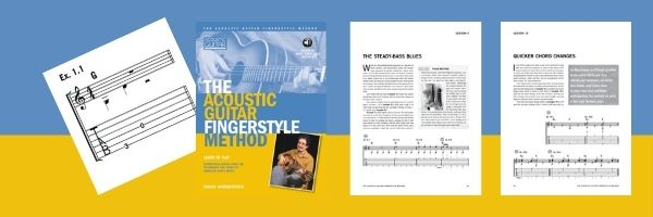 acoustic guitar fingerstyle method book cover with sample page examples