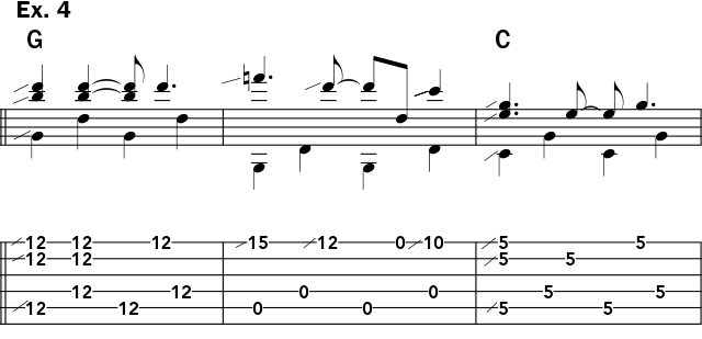 Musical example 4 showing how to use the slide over both G and C chords in open g